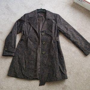 Trench-style, animal print coat, sz. M